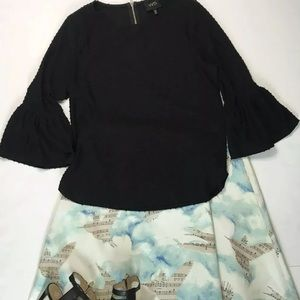 W5 Anthropologie black bell arm blouse texture